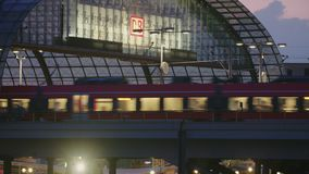 Berlin busy central railway station. Berlin central railway station trains departing and arriving, at sunset, in late summer stock video