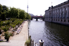 Berlin: Cafe on the shore of River Spree Stock Photography