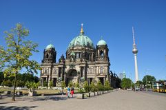 Berlin Dom Cathedral and TV Tower landmarks. Night scene in Germany Stock Photography
