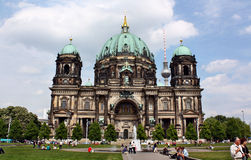 Berlin Cathedral (Berliner Dom) and Fernsehturm behind Royalty Free Stock Photo