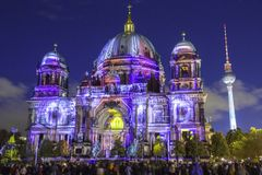 Berlin Cathedral Berliner Dom illuminated during sunset Stock Photo
