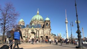 Berlin Cathedral and tourists on Museum Island, Berlin, Germany. Berlin Cathedral or Berliner Dom on Museum Island, Berlin, Germany, 16 February 2019, Berlin stock footage