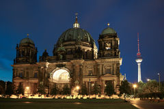 Berlin cathedral or Berliner Dom at night Stock Photo