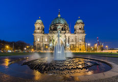 Berlin Cathedral (Berliner Dom) at Night. Berlin Cathedral (Berliner Dom) panorama at Night with fountain Royalty Free Stock Images