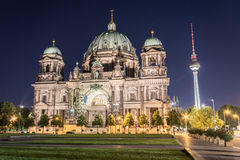 Berlin cathedral (Berliner Dom) , tv tower (Fernsehturm) at nigh Stock Photo