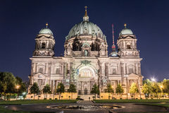 Berlin cathedral (Berliner Dom) , tv tower (Fernsehturm) at nigh. T Royalty Free Stock Image