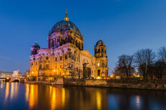 Berlin Cathedral (Berliner Dom) at twilight. With reflection Royalty Free Stock Image