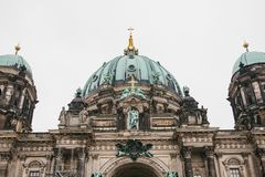 The Berlin Cathedral is called Berliner Dom. Beautiful old building in the style of neoclassicism and baroque with cross Royalty Free Stock Photos