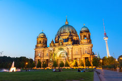 Berlin Cathedral church Berliner Dom and TV tower. Fernsehturm in Berlin, Germany Royalty Free Stock Images