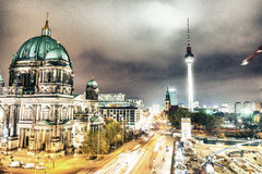 Berlin Cathedral with city aerial skyline at night Royalty Free Stock Photo