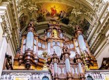 Berlin Cathedral Interior Organ Tyskland Arkivbild