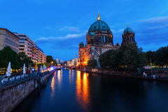 Berlin Cathedral on Museum Island in Berlin, Germany, at night Stock Photography