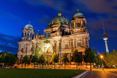Berlin Cathedral at night in Berlin, Germany Stock Image