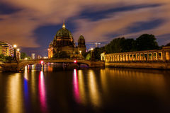 Berlin Cathedral at night in Berlin, Germany Royalty Free Stock Photos