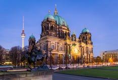 Berlin Cathedral at night Royalty Free Stock Photos