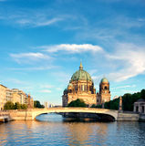 Berlin Cathedral over Spree river, panorama image Royalty Free Stock Image