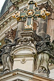 Berlin Cathedral, staues and gold-bronze cross Royalty Free Stock Photo