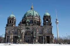 Berlin Cathedral with television tower in the background royalty free stock image