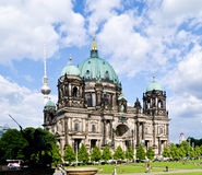 Berlin cathedral. With the TV tower on background Stock Photos