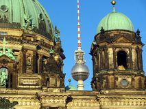 Berlin Cathedral and TV Tower. The Berliner Dom (Berlin Cathedral) and the Berlin TV Tower in the background Royalty Free Stock Photos