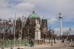 Berlin Cathedral and TV tower, Berliner Dom Royalty Free Stock Image