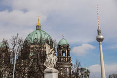 Berlin Cathedral and TV tower, Berliner Dom. Germany Royalty Free Stock Image
