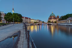 The Berlin Cathedral and the TV Tower. At dusk Royalty Free Stock Photography