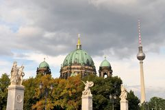 Berlin Cathedral with TV Tower, Germany Stock Image