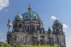 Berlin Cathedral with TV Tower. Image of Berlin Cathedral with TV Tower behind Royalty Free Stock Photos