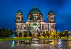 Berlin Cathedral with TV tower at night, Germany Royalty Free Stock Image