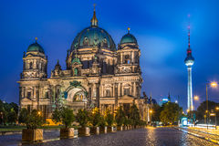 Berlin Cathedral with TV tower at night, Germany Royalty Free Stock Photo