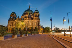 The Berlin Cathedral and the TV Tower. Before sunrise Royalty Free Stock Photo