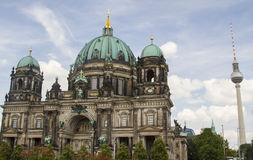 Berlin Cathedral and TV tower. View of Berliner Dom and TV tower Stock Images