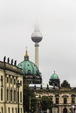 Berlin Cathedral, TV-Tower and Zeughaus Muesum in foggy weather Royalty Free Stock Images