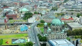 Berlin cathedral and Unter- den- Liden Street. Top view on the Berlin cathedral and Unter- den- Liden Street stock video