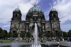Berlin Cathedral. View of the main facade of the Berlin Cathedral with the water fountain royalty free stock images