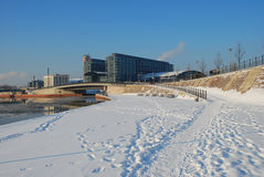 Berlin central station, winter view with snow. Hauptbahnhof: the capital central station. Winter view of the Spree embankment Berlin, Germany royalty free stock photo