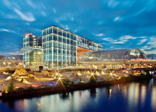 Berlin Central Station (Berlin Hauptbahnhof). And river Spree at night - Germany Royalty Free Stock Photography