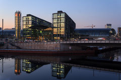 Berlin central station (Hauptbahnhof) at night Royalty Free Stock Images