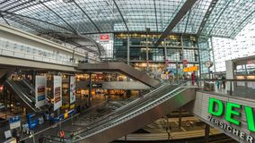 Berlin Central Station Time Lapse. BERLIN, GERMANY - MAY 9, 2017: Timelapse at Berlin Central Station Berlin Hauptbahnhof, Berlin, Germany, 4K Time Lapse stock video