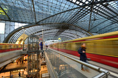 Berlin Central train station. On 23 November 2013 in Berlin, Germany. 1,800 trains call at the station per day and the daily number of passengers is estimated Stock Photos