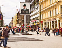Berlin, Checkpoint Charlie in Frederichstrasse Stock Photos