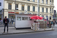 Berlin: Checkpoint Charlie now touristic attraction, the sentry Stock Photo