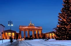Berlin christmas brandenburger tor Stock Photos