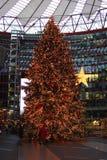 Berlin christmas tree. A big christmas tree inside the sony center of berlin in germany stock photo