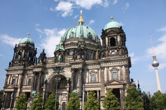 Berlin church. Berlin Dome Church with the TV tower landmark in the background Stock Photos