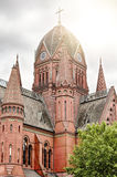 Berlin church with backlit Royalty Free Stock Image