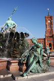 Berlin city hall. Red brick city hall of Berlin, Germany, with fountain in front of it Stock Image
