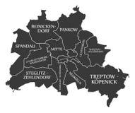 Berlin city map Germany DE labelled black illustration. Berlin city map Germany DE labelled black Stock Photo
