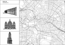 Berlin city map with hand-drawn architecture icons stock illustration